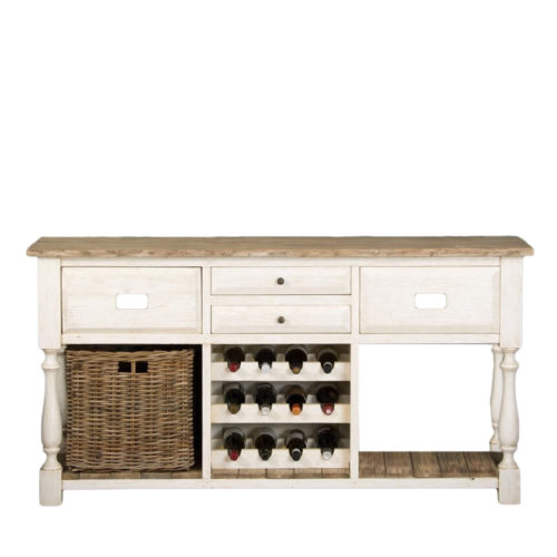 Ellena Sideboard Wine Rack Drawer W/ Rattan Basket   DAB-022