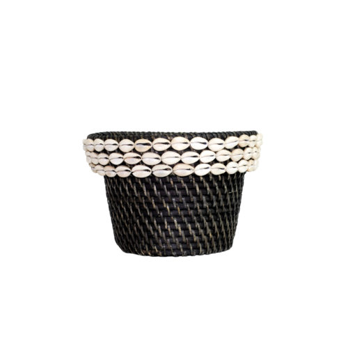 Rattan Pot With Shell L  MSP-056