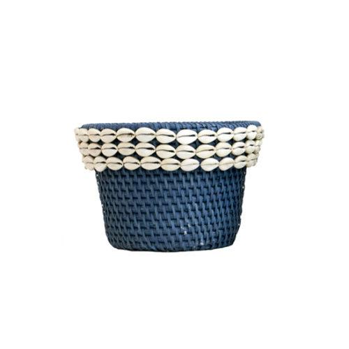 Rattan Pot With Shell L  MSP-059
