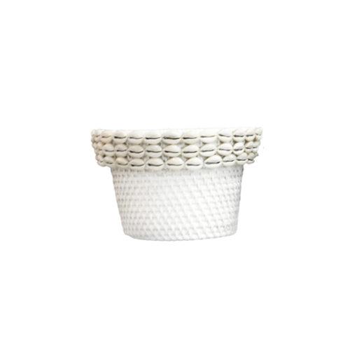 Rattan Pot With Shell L  MSP-062