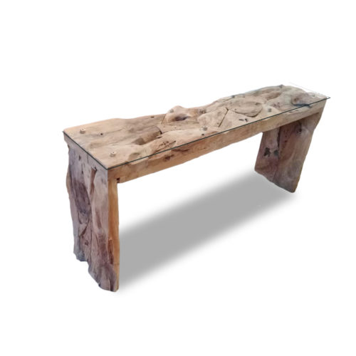 Console teak root block legs with glass  IMP-006