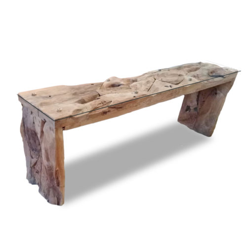 Console teak root block legs with glass  IMP-007