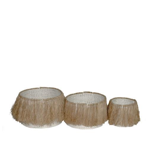 Seagras Basket With Rafia Fringe  MSP-096