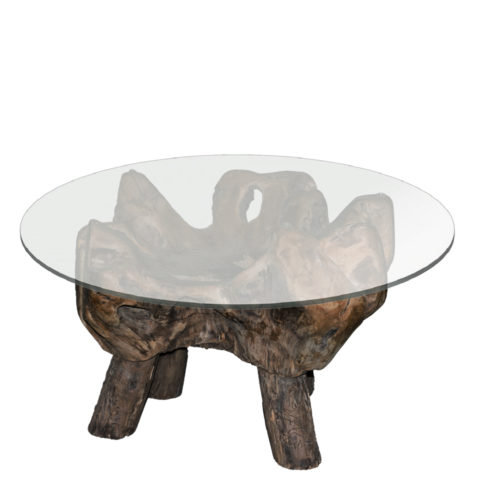 Teak Root Table with Glass Diamater 100